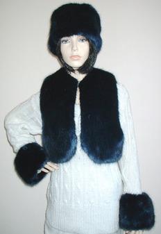 Midnight Navy Blue Faux Fur Cuffs
