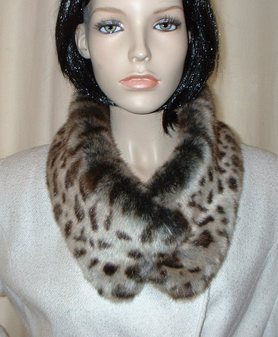 Ocelot Faux Fur Long Collar