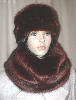 Burgundy Mink Faux Fur Hat