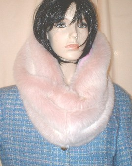 Pink Champagne Faux Fur Cowl/Neck Warmer