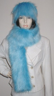 Sky Blue Faux Fur Scarf