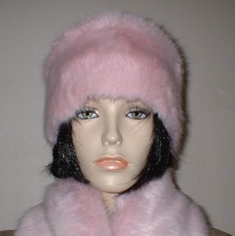 Raspberry Cream Mink Faux Fur Headband