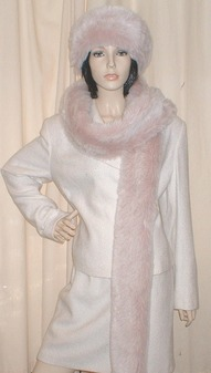 Pink Champagne Faux Fur Long Scarf