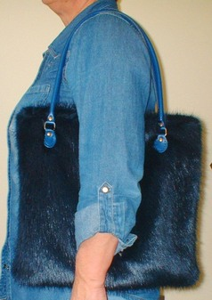 Midnight Navy Blue Faux Fur Bag