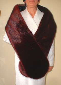 Burgundy Mink Faux Fur Slim Stole