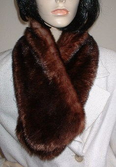 SALE Russet Mink Faux Fur Neck Scarf