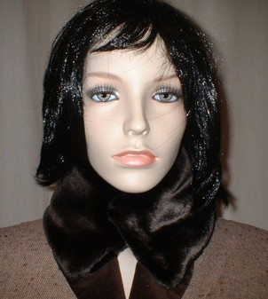 Chocolate Moleskin Faux Fur Collar