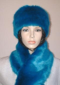 Azure Blue Faux Fur Headband