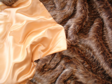 SALE Double Width Simba Faux Fur with Gold Satin Throw