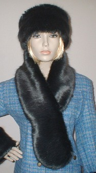Charcoal Mink Faux Fur Pull Through Scarf