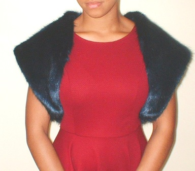 Midnight Navy Blue Faux Fur Shrug
