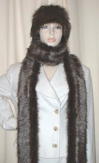Brown Bear Faux Fur Super Long Scarf