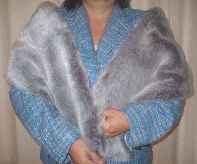 Silver Lavender Fox Faux Fur Stole