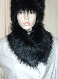 Black Bear Faux Fur Long Collar