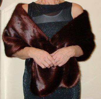 Burgundy Mink Faux Fur Stole