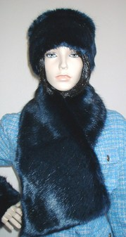 Midnight Navy Blue Faux Fur Asymmetric Scarf