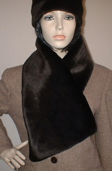 Chocolate Moleskin Faux Fur Asymmetric Scarf