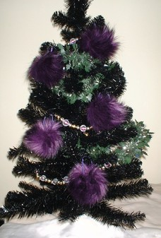 Royal Purple Faux Fur Christmas Baubles
