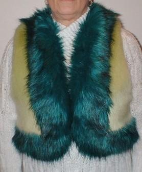 Pistachio and Jade Faux Fur Body Warmer