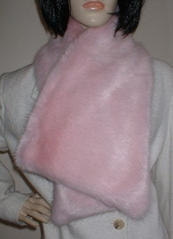 Raspberry Cream Mink Faux Fur Asymmetric Scarf