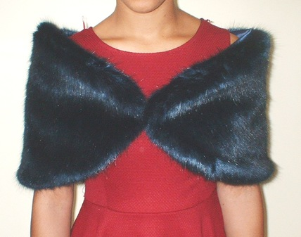 Midnight Navy Blue Faux Fur Wrap
