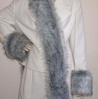 Silver Musquash Faux Fur Cuffs