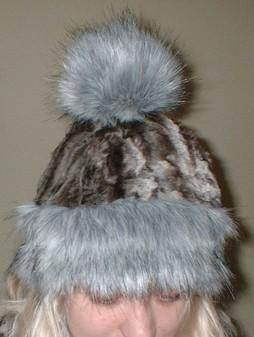 Silver Musquash Faux Fur Bobble Hat