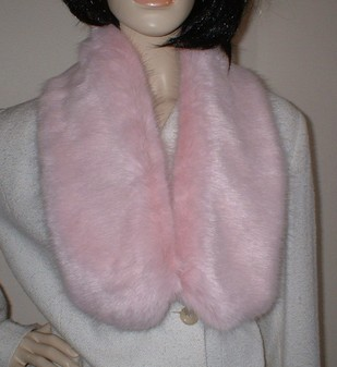 Raspberry Cream Mink Faux Fur Neck Scarf