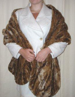 Vintage Gold Astra Faux Fur Long Stole