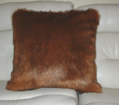 SALE Amber Faux Fur Cushion with Tan Faux Suede 51 x 51cm (20 x 20 inches)