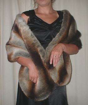 Golden Brown Chinchilla Faux Fur Stole