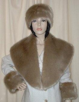 Honey Blonde Faux Fur Shawl Collar