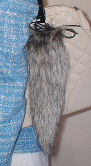 Timber Wolf Faux Fur Tail Handbag Key Charm
