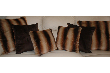Golden Brown Chinchilla Faux Fur Cushion 24 x 24 inches