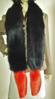 Black Bear and Coral Faux Fur Boa Scarf