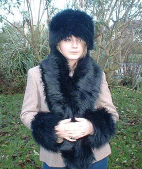 Black Bear Faux Fur Scarf
