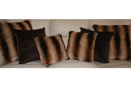 Golden Brown Chinchilla Faux Fur Cushion 20 x 20 inches