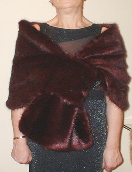 Burgundy Wine Mink Faux Fur Pull Through Stole