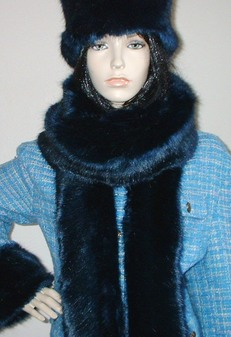 Midnight Navy Blue Faux Fur Super Long Scarf