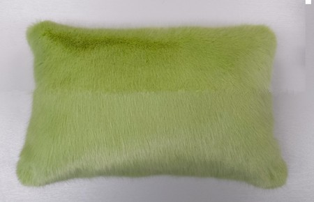 Pistachio Faux Fur Oblong Cushion