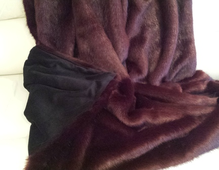 Burgundy Wine Mink Faux Fur Throw