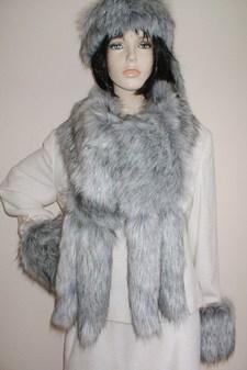 Silver Musquash Faux Fur Tail Scarf