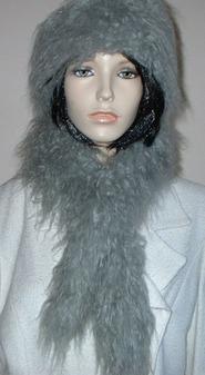Mongolian Grey Faux Fur Slim Collar/Headband
