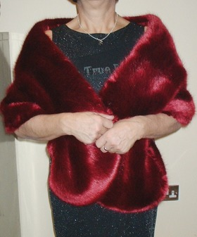 Ruby Red Faux Fur Stole
