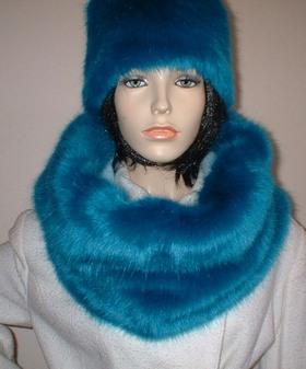 Azure Blue Faux Fur Cowl/Neck Warmer