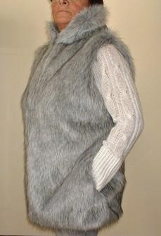 Silver Musquash Faux Fur Long Gilet