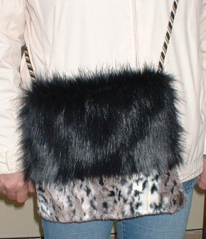 Black Bear and Wild Cat Faux Fur Shoulder Bag