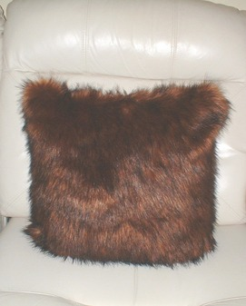 "Red Fox Faux Fur Cushion 41x41cm (16"")"