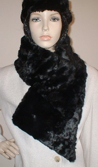 Black Astra Faux Fur Asymmetric Scarf