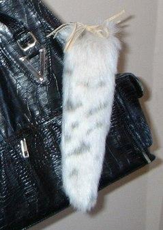Snow Lynx Faux Fur Tail Handbag Key Charm
